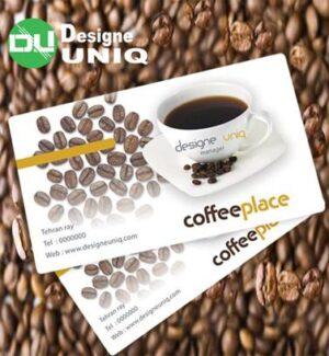کارت ویزیت کافی شاپ لایه باز 1398 | تصویر فنجان قهوه و دانه های قهوه