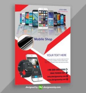 تراکت تبلیغاتی موبایل فروشی لایه بار psd با تصاویر png موبایل