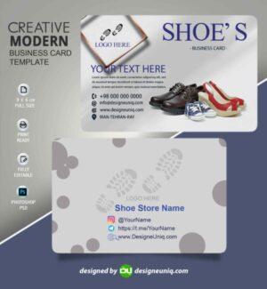 کارت ویزیت فروشگاه کیف و کفش لایه باز psd