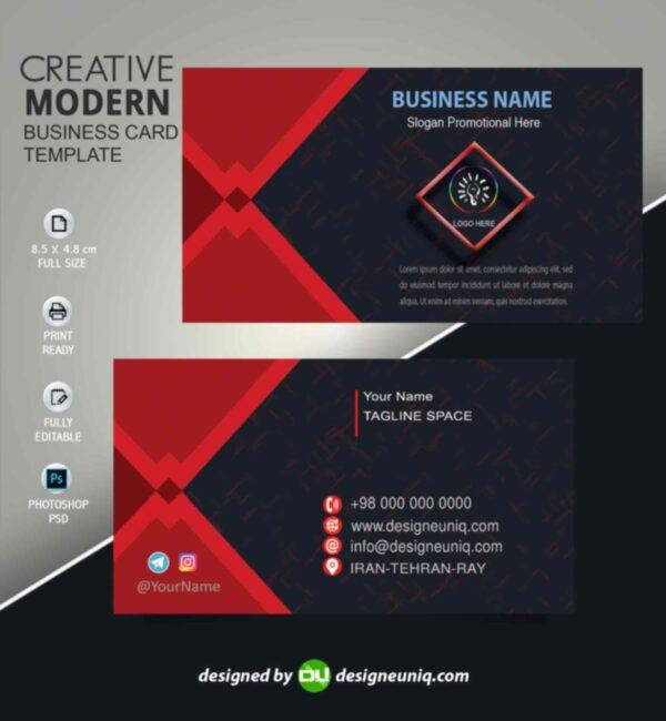 کارت ویزیت بیزینس با طراحی خاص و رنگ مشکی و قرمز psd