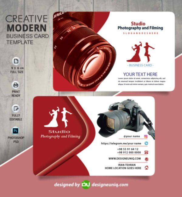 کارت ویزیت استودیو عکاسی و فیلمبرداری | psd format