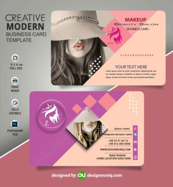 کارت ویزیت آرایشگاه زنانه میکاپ آرتیست سالن زیبایی لایه باز | psd