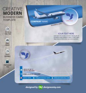 کارت ویزیت آژانس هواپیمایی و گردشگری و مسافرتی psd