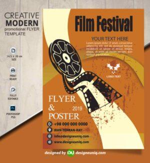 تراکت و پوستر تبلیغاتی ویژه برگزاری فستیوال فیلم و عکاسی لایه باز