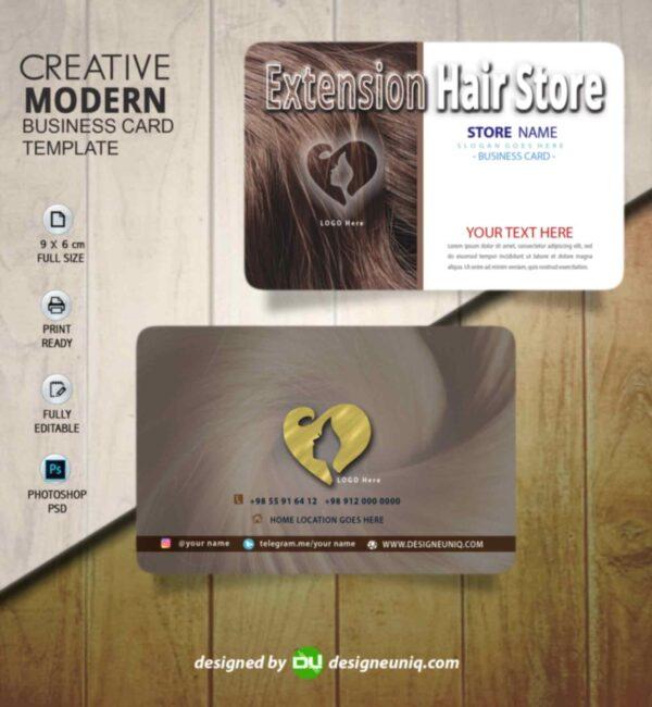 کارت ویزیت اکستنشن مو و آرایشگاه زنانه شینیون psd