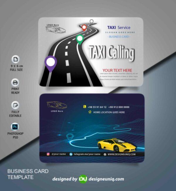 کارت ویزیت تاکسی تلفنی ، تاکسی سرویس ، آژانس مسافرتی لایه باز psd