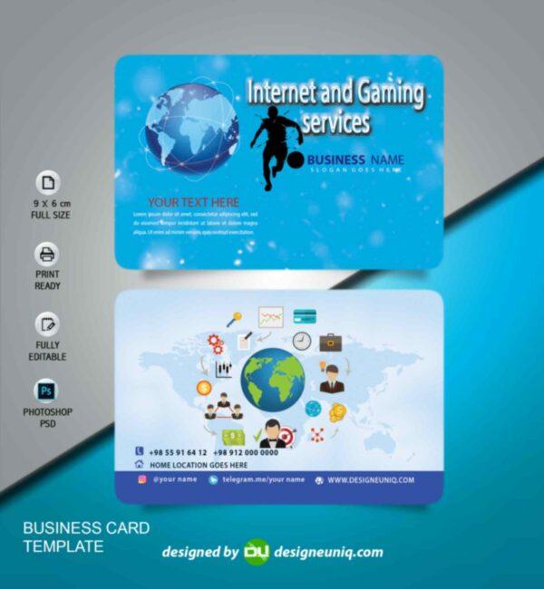 کارت ویزیت کافی نت ، گیم نت و خدمات اینترنتی لایه باز psd