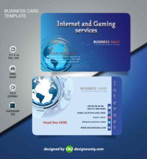 کارت ویزیت خدمات اینترنتی ، گیم نت ، کافی نت و شرکت های اینترنتی لایه باز psd