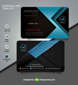 کارت ویزیت خاص رنگ مشکی آبی لایه باز psd