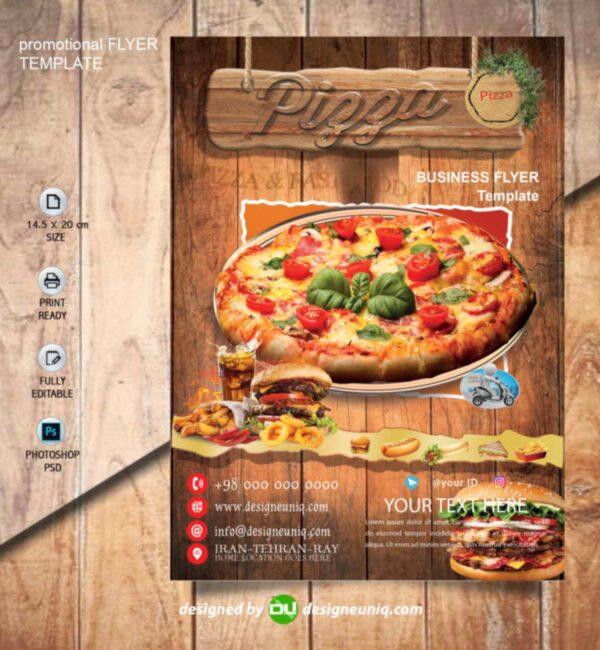 تراکت تبلیغاتی پیتزا فروشی و فست فود لایه باز psd