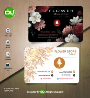 کارت ویزیت گل فروشی و تزئینات گل و باغبانی لایه باز