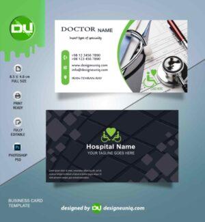 کارت ویزیت پزشکی و بیمارستان کاملا لایه باز | psd