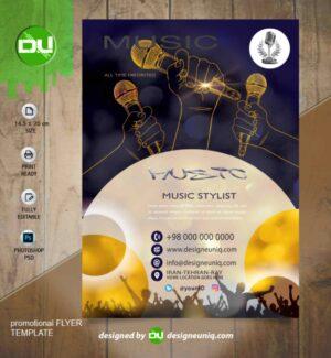دانلود تراکت تبلیغاتی موسیقی Dj موزیک ، خوانندگان و فروشگاه لوازم موسیقی لایه باز
