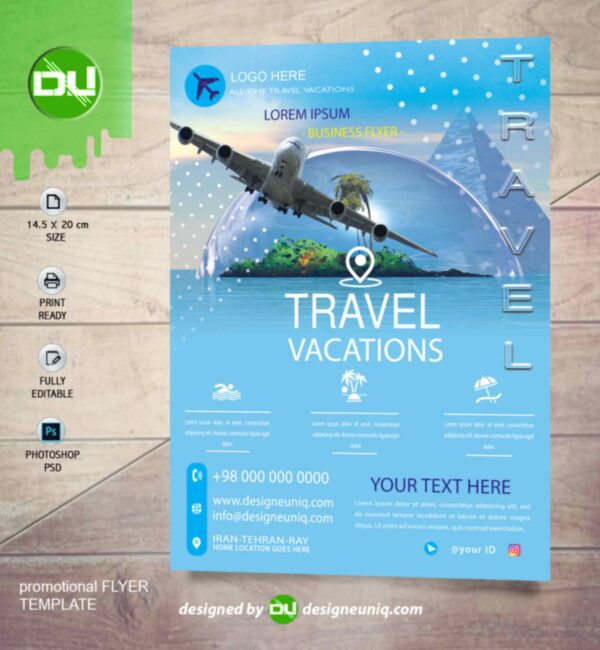 دانلود تراکت تبلیغاتی آژانس مسافربری و تورهای گردشگری لایه باز