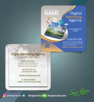 کارت ویزیت دفتر خدمات اینترنتی و کامپیوتری و دیجیتال مارکتینگ مربع دورگرد