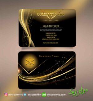 کارت ویزیت مشکی و طلایی طرح لایه باز psd نمونه فایل کارت ویزیت مشکی و طلایی
