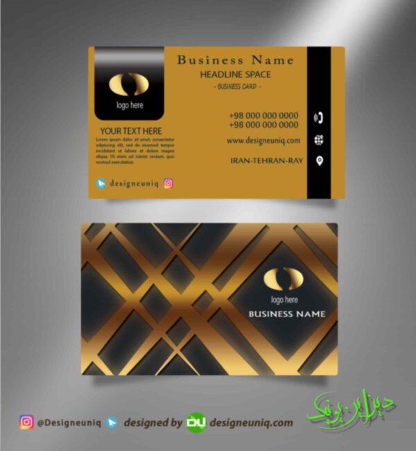 کارت ویزیت خاص لایه باز مشکی طلایی مشاور املاک سالن آرایشگاه زیبایی شرکتی فروشگاه و مناسب برای تمامی مشاغل