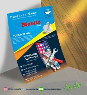تراکت تبلیغاتی تعمیرات موبایل اپل و نمونه طرح تراکت تبلیغاتی موبایل فروشی و فروشگاه موبایل و تعمیرات موبایل psd