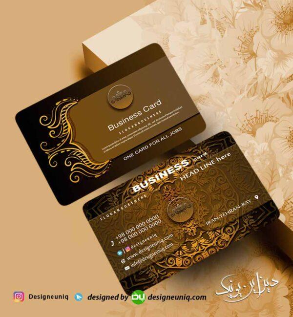 نمونه طرح کارت ویزیت طلایی مشکی با طراحی خاص گل و بوته لایه باز psd