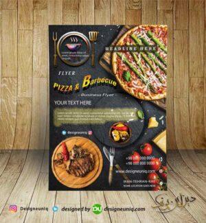 نمونه طرح تراکت تبلیغاتی پیتزا فروشی و باربیکیو و فست فود psd