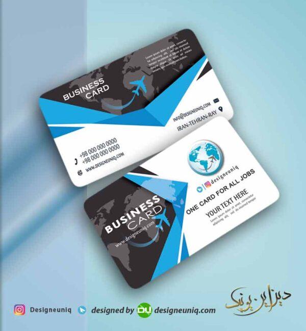 طرح کارت ویزیت آژانس هواپیمایی و تور مسافرتی لایه باز psd