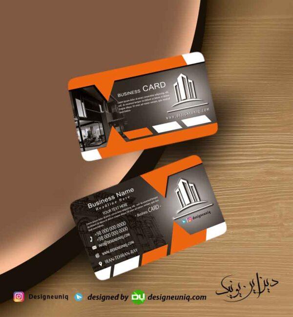 کارت ویزیت مشاور و مشاورین املاک و طراحی داخلی املاک نارنجی مشکی رنگ لایه باز psd