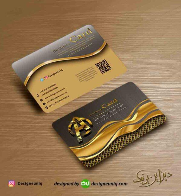 کارت ویزیت خاص و لاکچری طلایی طوسی مشکی رنگ همراه با لوگو لایه باز psd