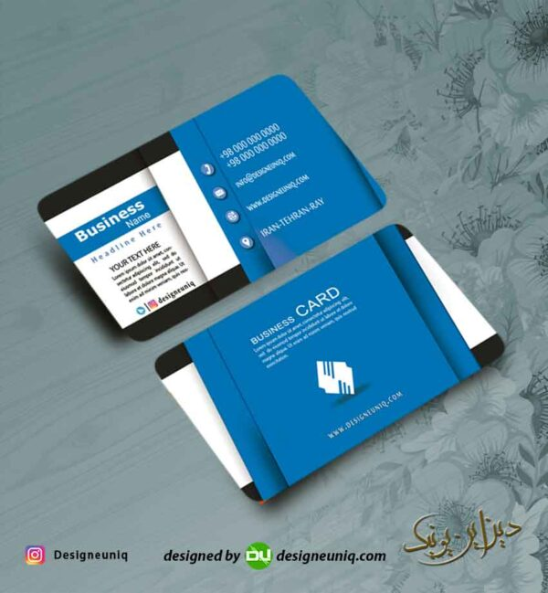 کارت ویزیت خلاقانه خاص رنگ آبی لایه باز فرمت psd