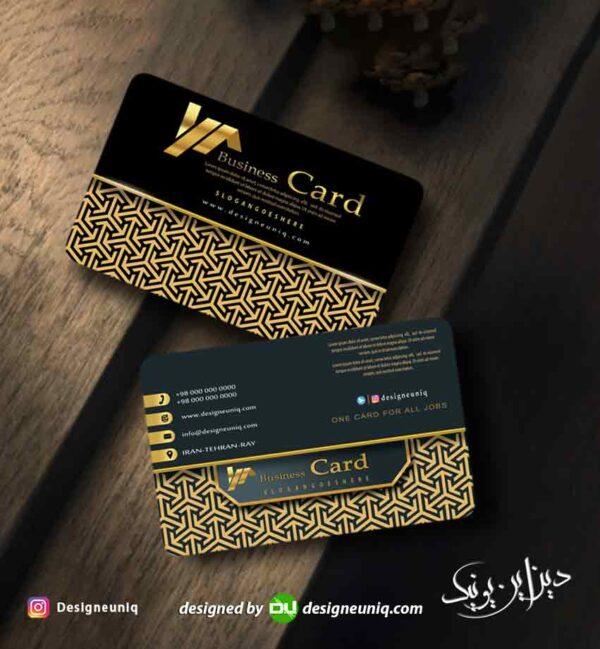 کارت ویزیت خاص و لاکچری مشاور و مشاورین املاک مشکی طلایی مناسب برای تمام مشاغل لایه باز psd
