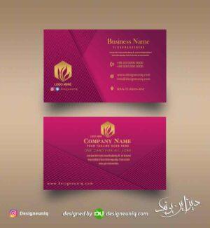 کارت ویزیت خاص بنفش رنگ مناسب آرایشگاه زنانه و سالن آرایش و زیبایی لایه باز psd